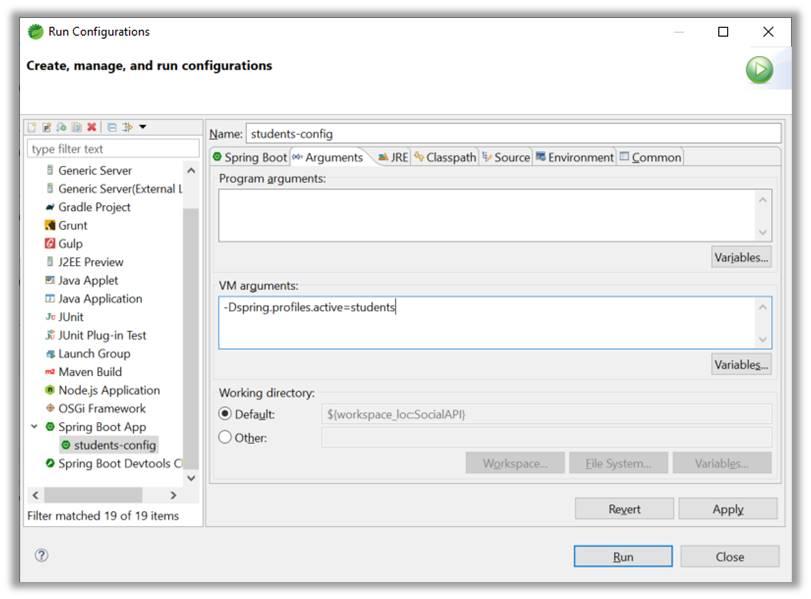 Run Configuration VM arguments