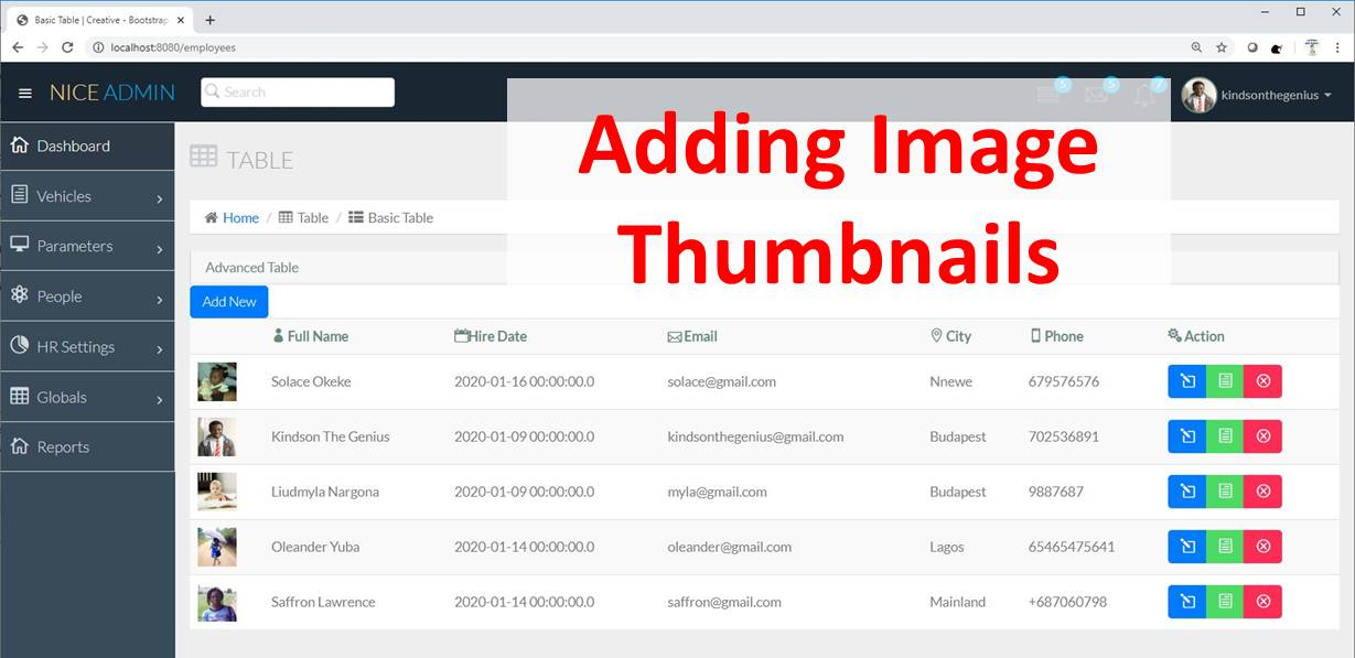 Complete Application – Part 2 (Showing Image Thumbnails)