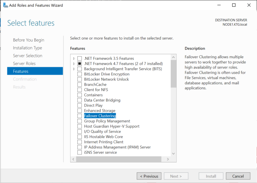 Adding the Failover Clustering role