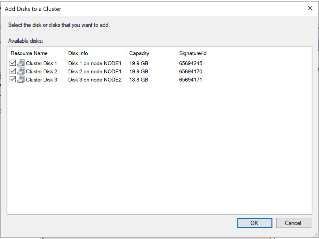 Adding disks to cluster