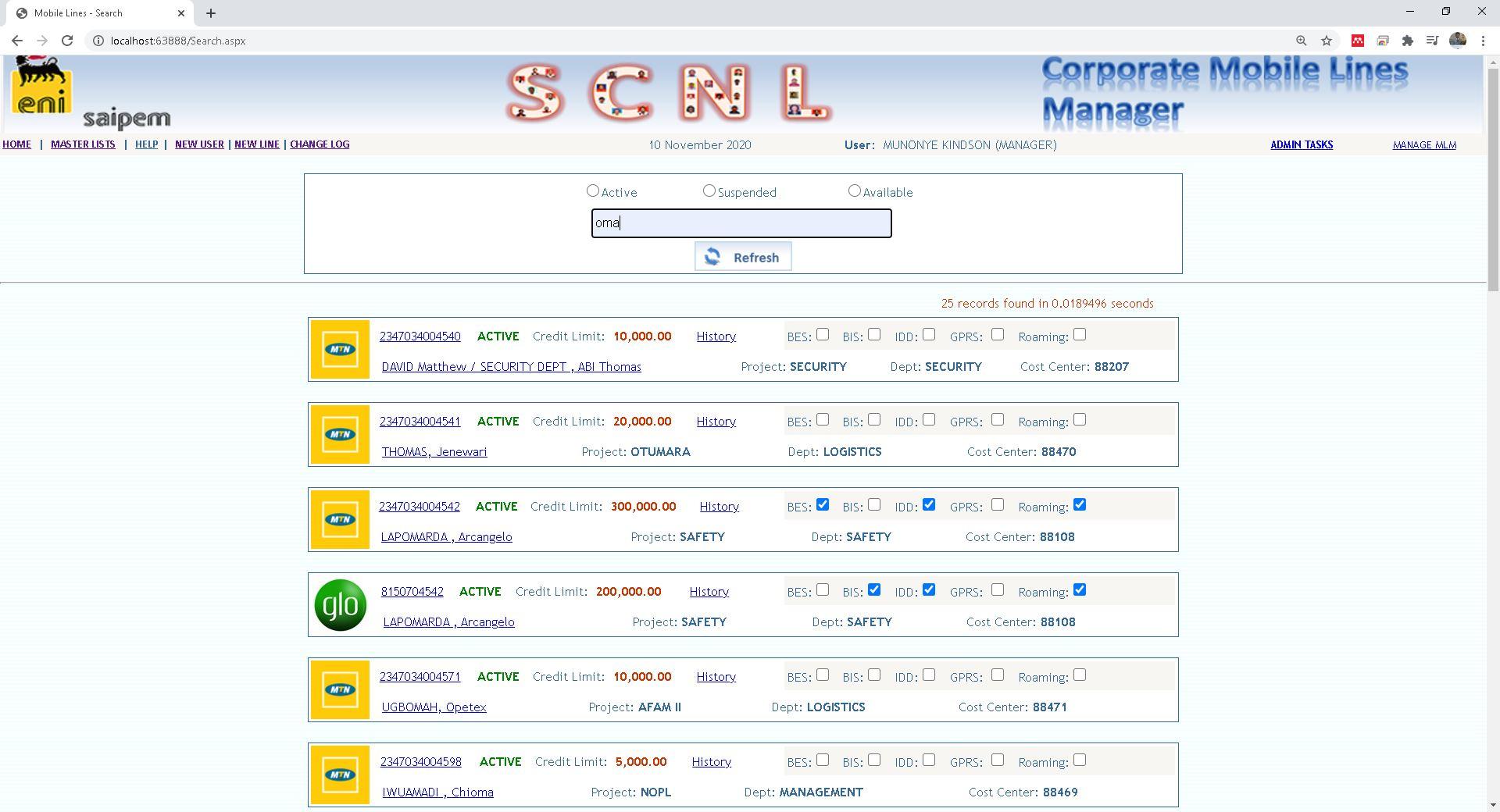 Saipem Mobile Services Management System