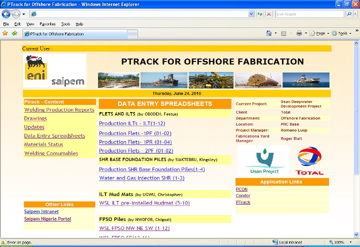 SAIPEM OFFSHORE PROJECT TRACKING SYSTEM - PTRACK