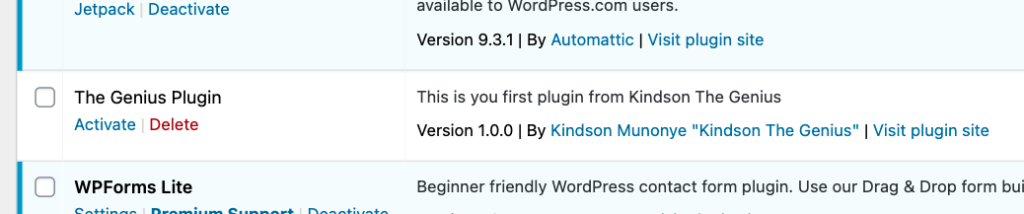 Your first WordPress Plugin